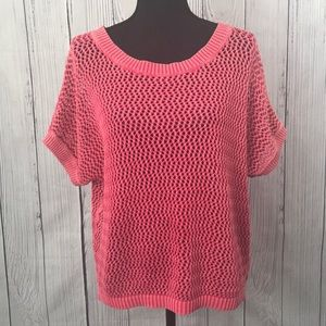 Mossimo Coral Open Knit Layering Short Sleeve Top